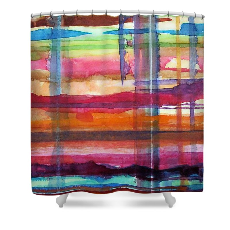 Abstract Shower Curtain featuring the painting Layered by Suzanne Udell Levinger