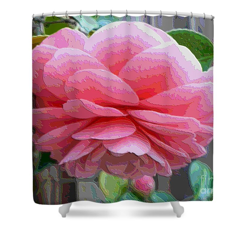 Pink Camellia Shower Curtain featuring the photograph Layers Of Pink Camellia - Digital Art by Carol Groenen