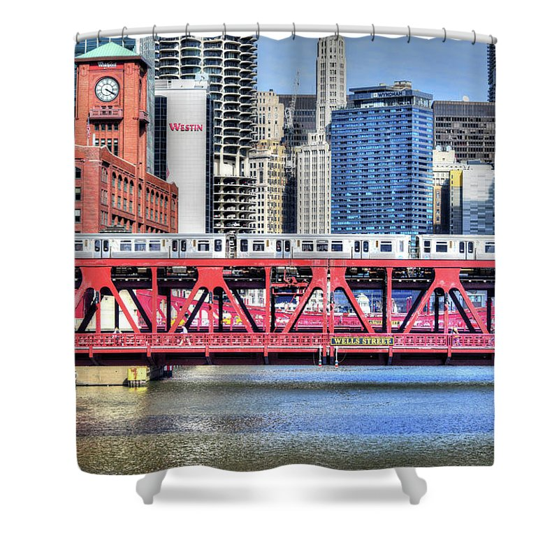 Chicago Shower Curtain featuring the digital art Layers On The River by Eric Formato
