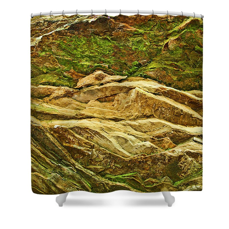 Rocks Layers Geology Moss Photography Photograph Art Digital Shower Curtain featuring the photograph Layers by Shari Jardina