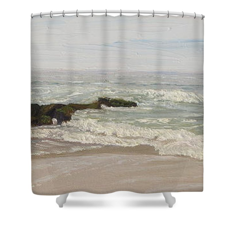 Seascape Shower Curtain featuring the painting LBI Surf Over Rocks by Lea Novak