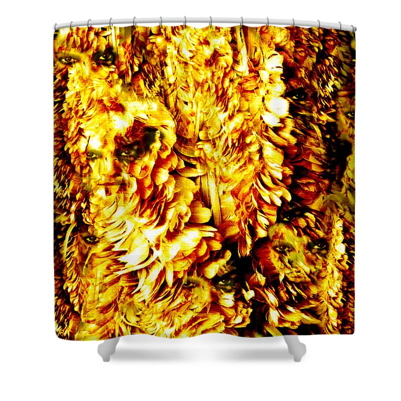 Feathers Shower Curtain featuring the digital art Le Flock by Seth Weaver