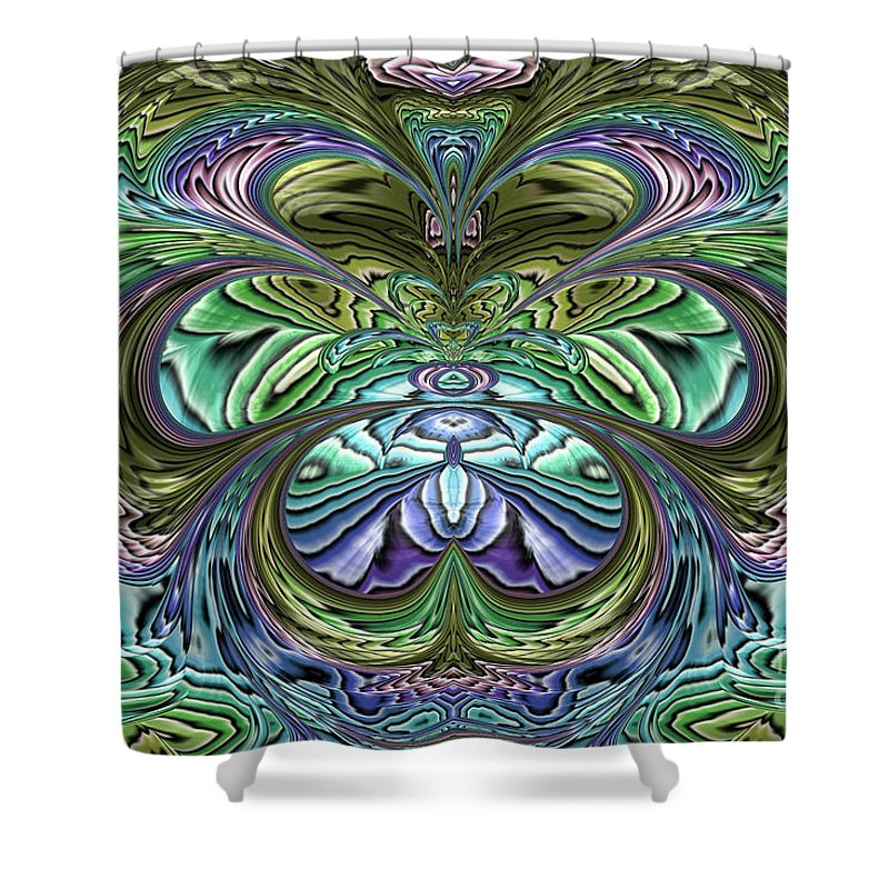 Garden Abstract Shower Curtain featuring the digital art Le Jardin Secret by John Edwards