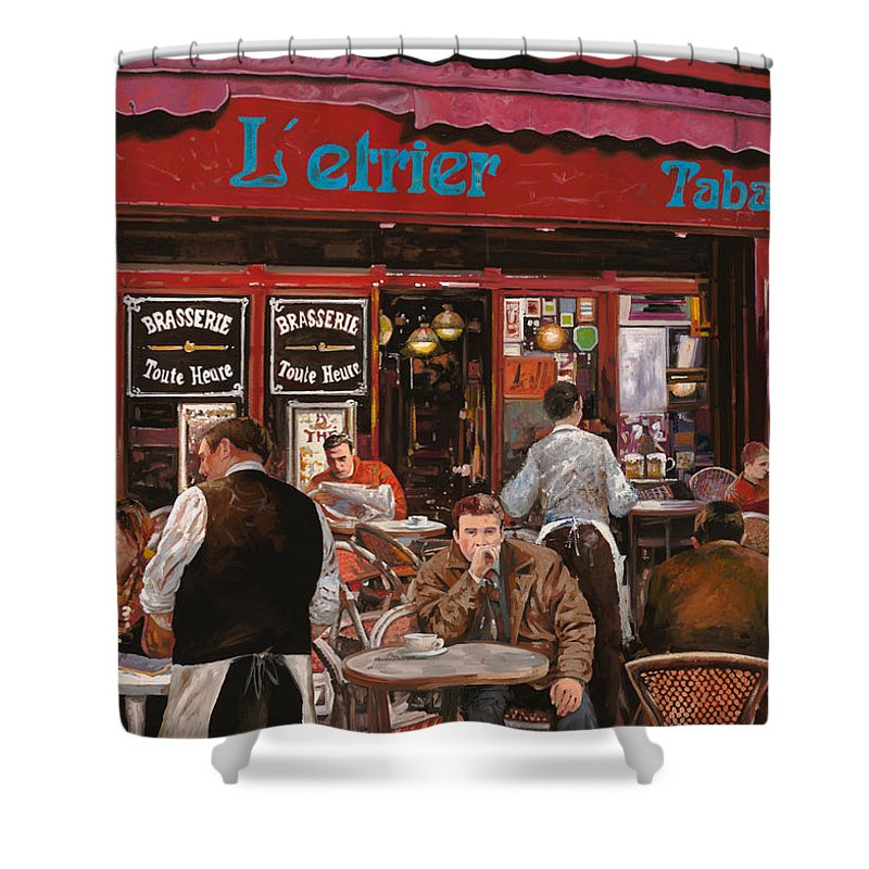 Brasserie Shower Curtain featuring the painting Le Mani In Bocca by Guido Borelli