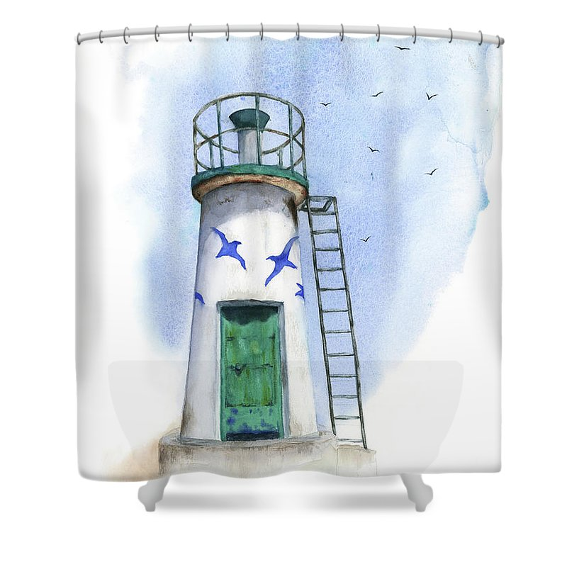 Watercolor Shower Curtain featuring the painting Le Phare by Zapista
