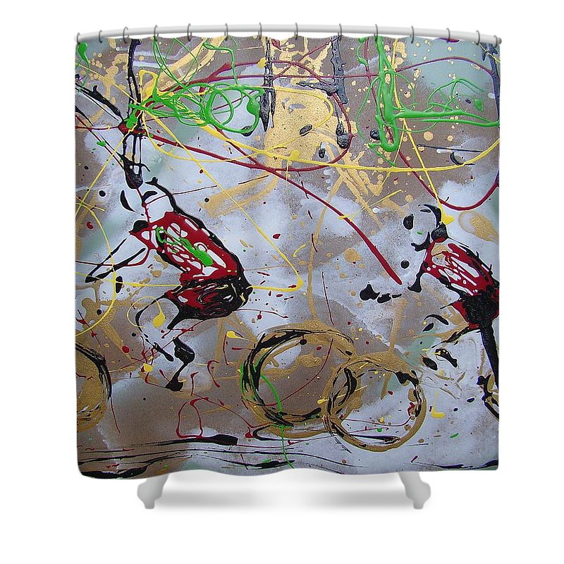 Abstract Shower Curtain featuring the painting Le Tour B by J R Seymour