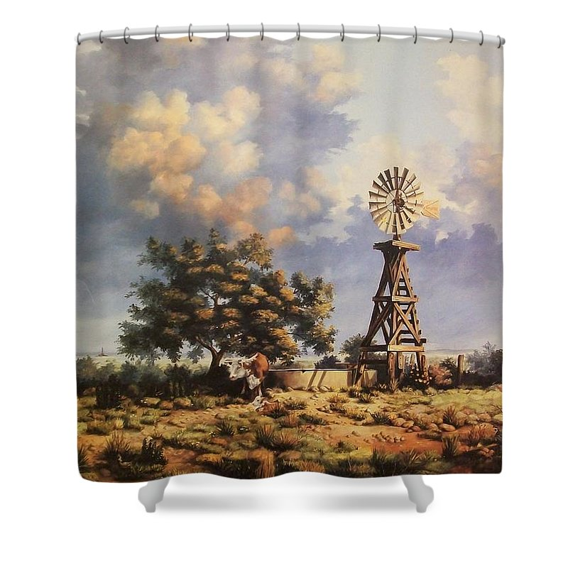 A New Mexico Landscape. Shower Curtain featuring the painting Lea County Memories by Wanda Dansereau