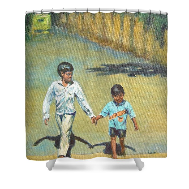 Lead Shower Curtain featuring the painting Lead Kindly Brother by Usha Shantharam