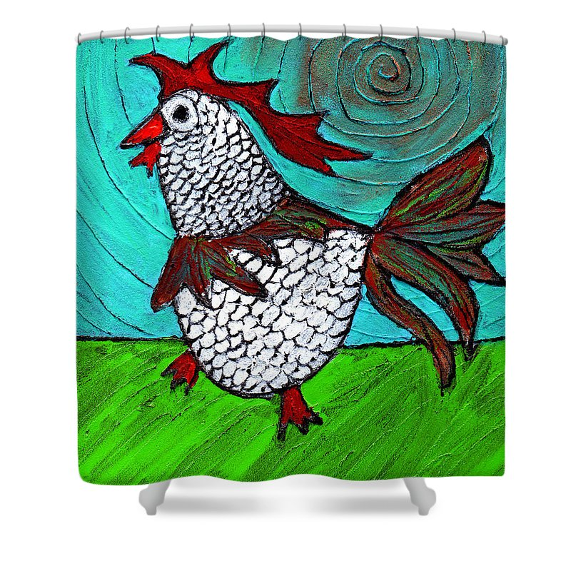 Rooster Shower Curtain featuring the painting Leader Of The Pack by Wayne Potrafka
