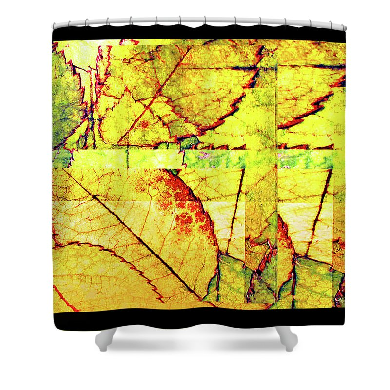 Autumn Shower Curtain featuring the digital art Leaf Abstract by Joan Minchak