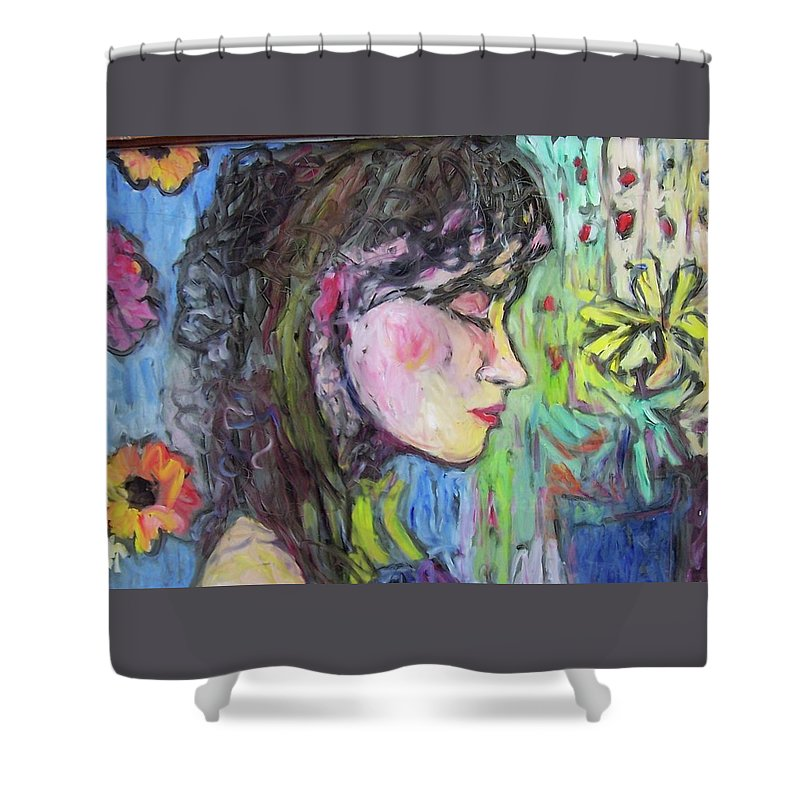Female Shower Curtain featuring the painting Leahannah Up Close by Mykul Anjelo