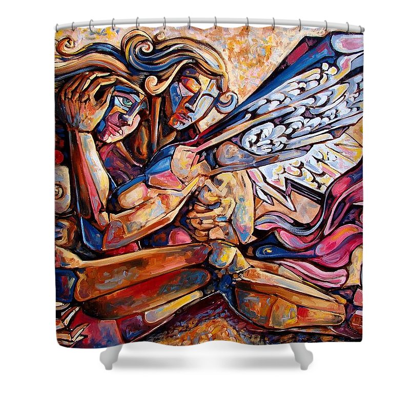 Surrealism Shower Curtain featuring the painting Lean On Me by Darwin Leon