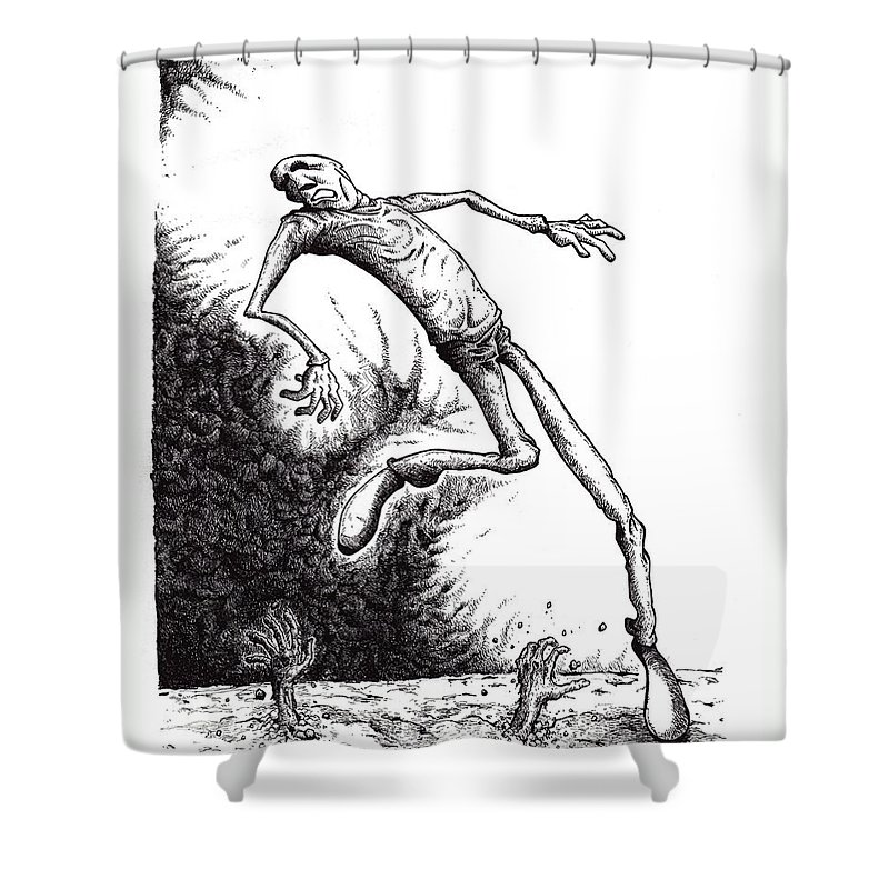 Black And White Shower Curtain featuring the drawing Leap by Tobey Anderson