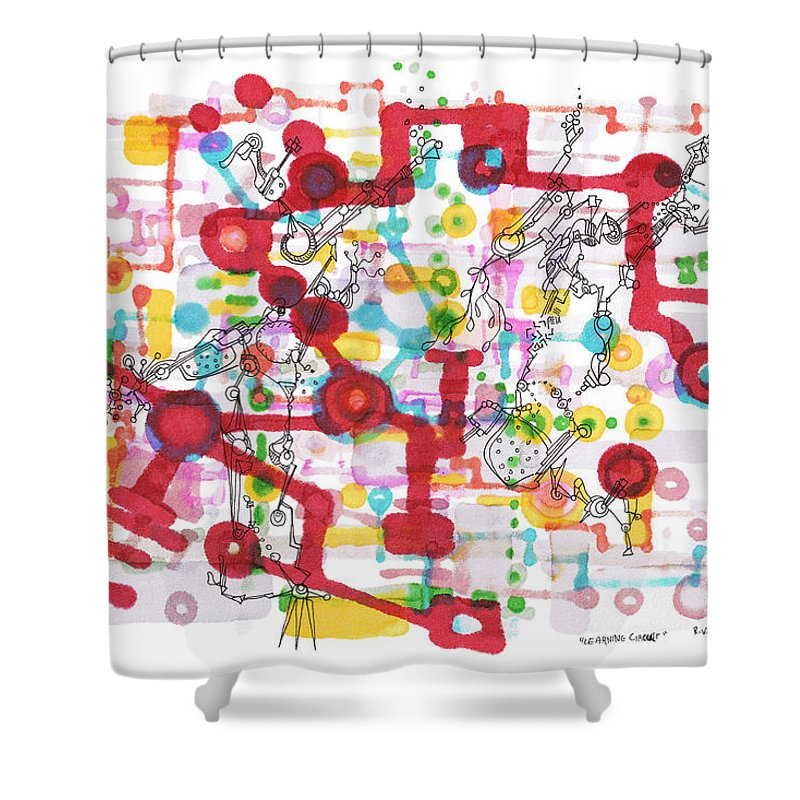 Learning Shower Curtain featuring the drawing Learning Circuit by Regina Valluzzi