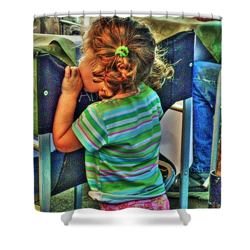 Child Shower Curtain featuring the photograph Learning by Francisco Colon