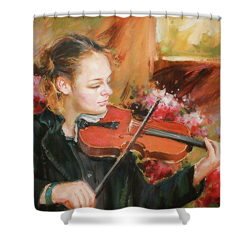 Violin Shower Curtain featuring the painting Learning The Violin by Conor McGuire
