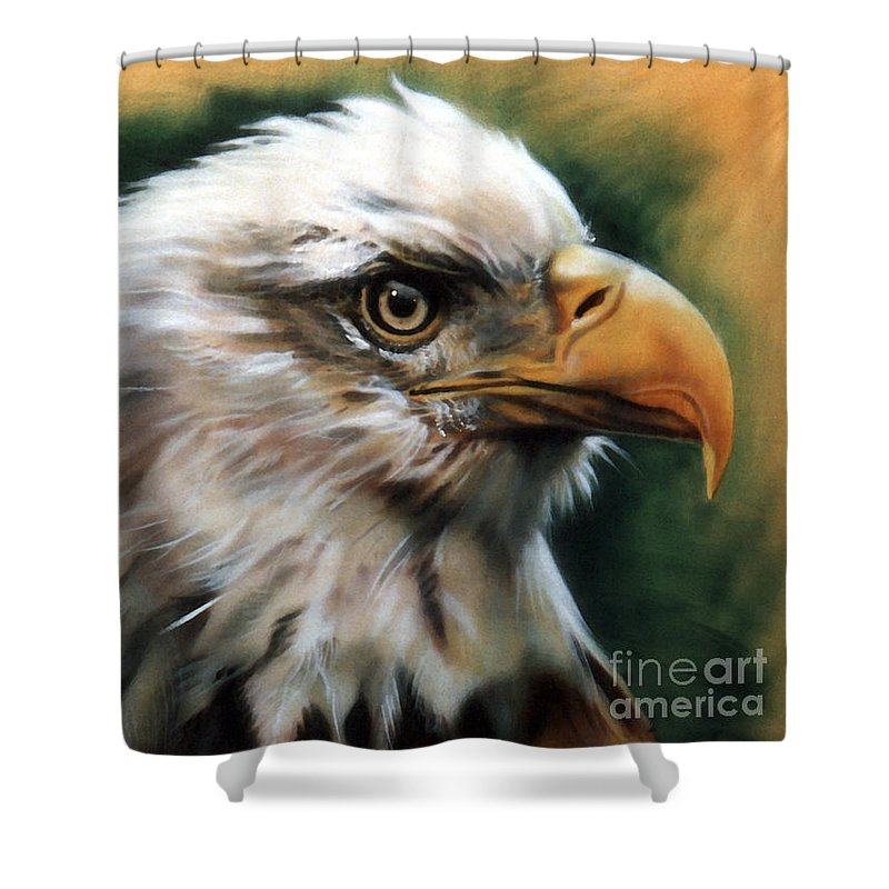 Southwest Art Shower Curtain featuring the painting Leather Eagle by J W Baker