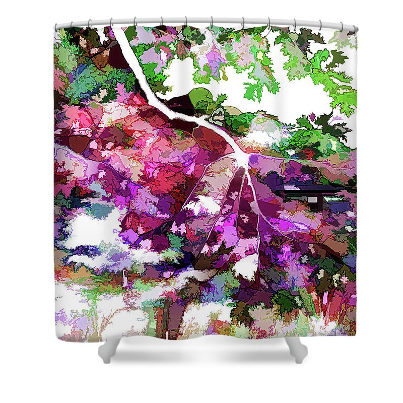 Leave In Autumn Shower Curtain featuring the painting Leave In Autumn by Jeelan Clark
