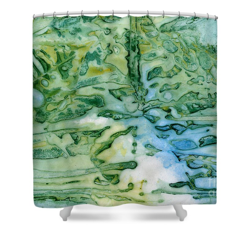 Leaf Shower Curtain featuring the painting Leaves In Water by Janet Hild