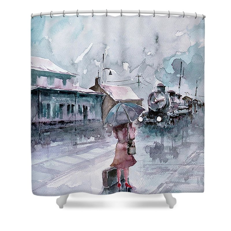 Station Shower Curtain featuring the painting Leaving... by Faruk Koksal