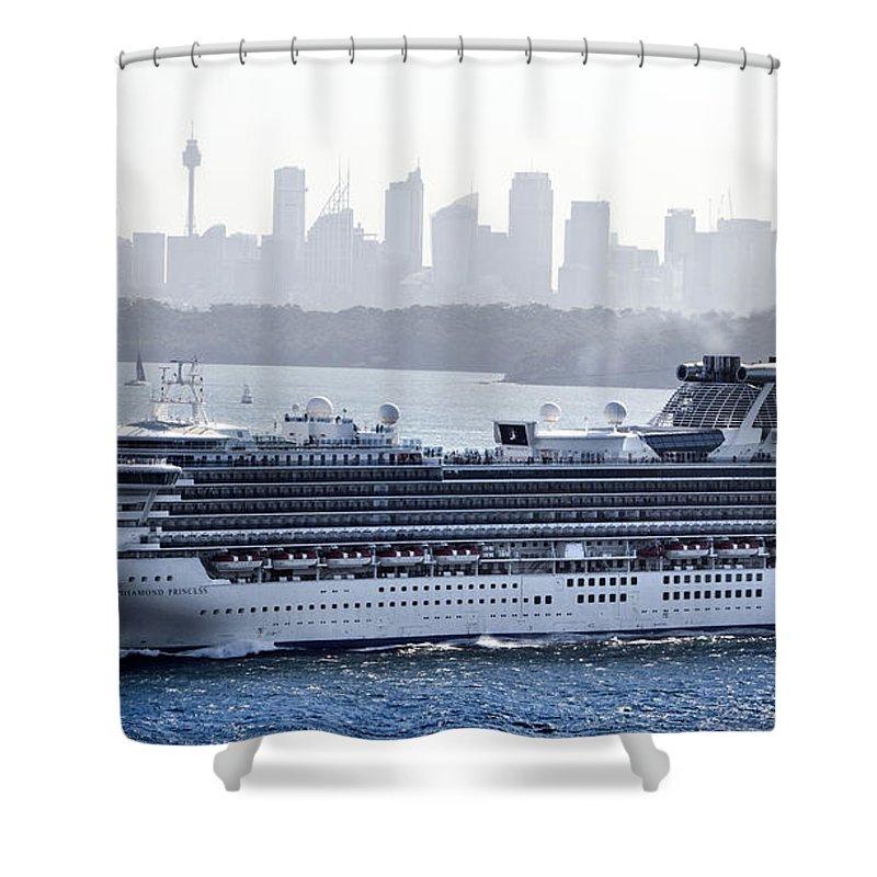 Diamond Princess Shower Curtain featuring the photograph Diamond Princess Leaving Sydney by Miroslava Jurcik
