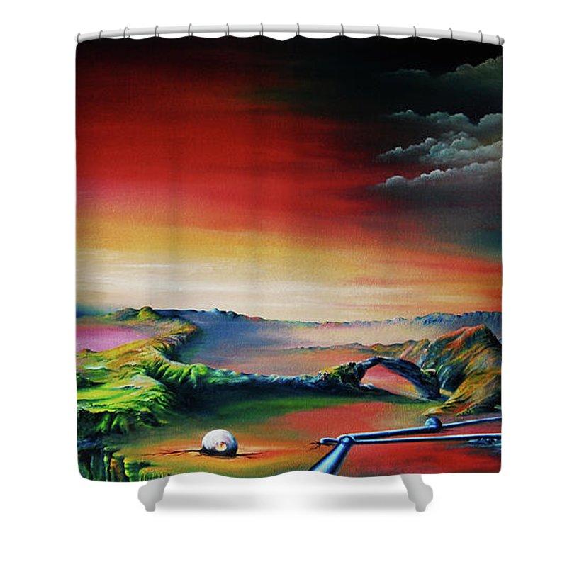 Pipes Shower Curtain featuring the painting Leben In Rohren Und Kugeln by Ilona Van Hoek