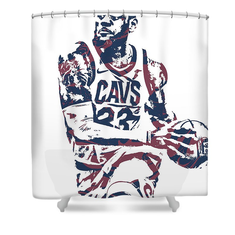Lebron James Shower Curtain featuring the mixed media Lebron James Cleveland Cavaliers Pixel Art 50 by Joe Hamilton