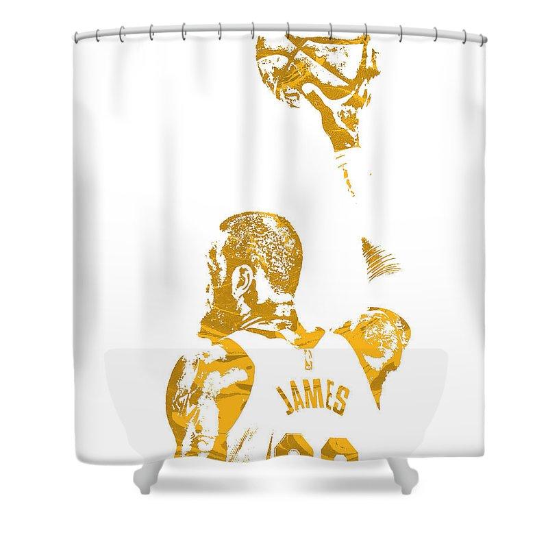Lebron James Shower Curtain featuring the mixed media Lebron James Cleveland Cavaliers Pixel Art 71 by Joe Hamilton