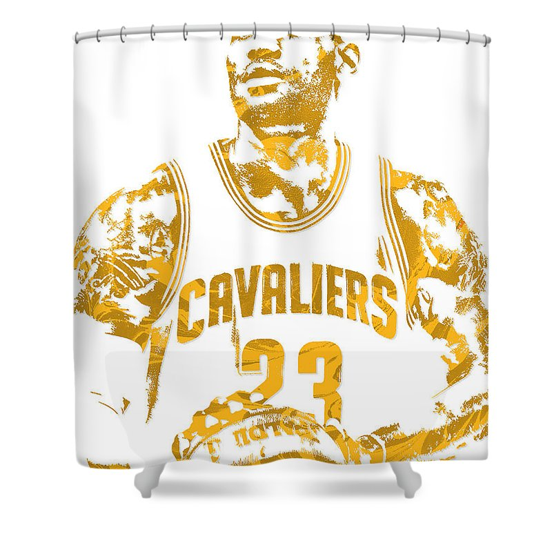 Lebron James Shower Curtain Featuring The Mixed Media Cleveland Cavaliers Pixel Art 8 By
