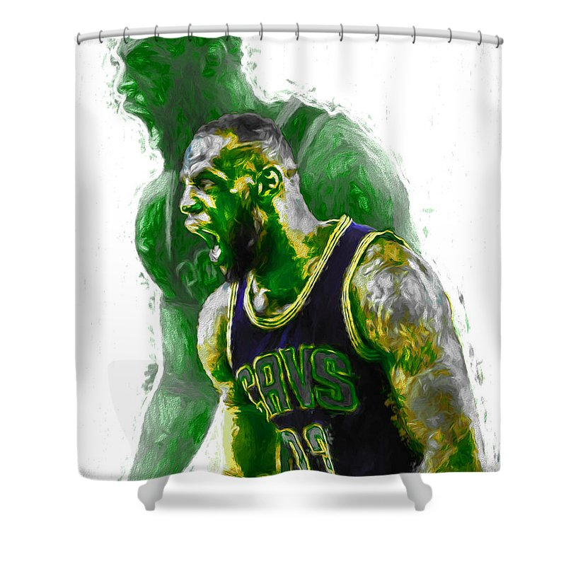 Lebron Shower Curtain Featuring The Photograph James Green Rage Hulk Cleveland Cavs Digital Painting By