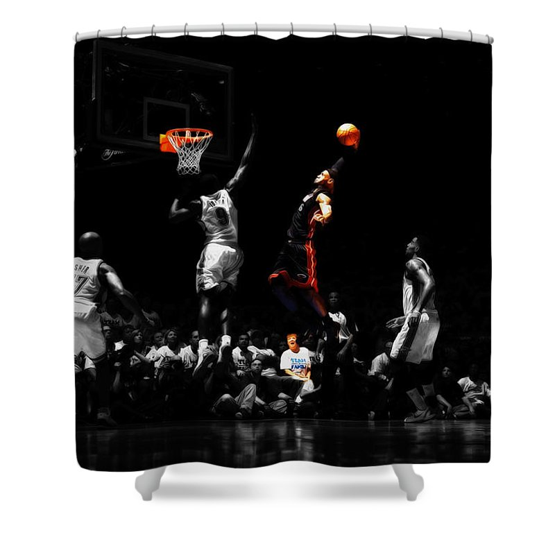781cb9e2d5d0 Lebron James Shower Curtain featuring the mixed media Lebron James Witness  by Brian Reaves