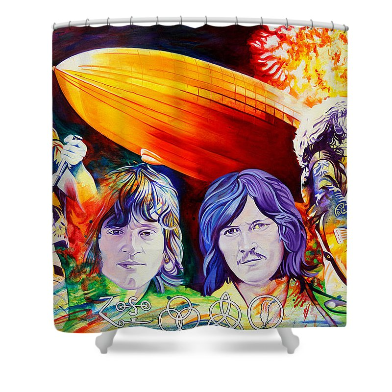 Led Zeppelin Shower Curtain Featuring The Painting By Joshua Morton