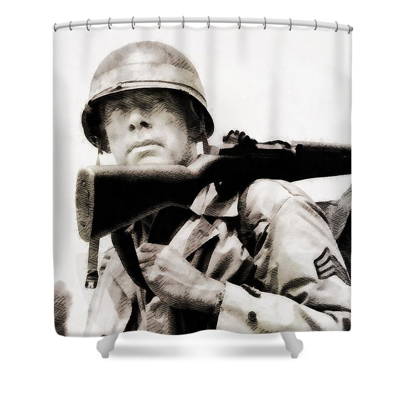 Hollywood Shower Curtain featuring the painting Lee Marvin, Vintage Actor by John Springfield