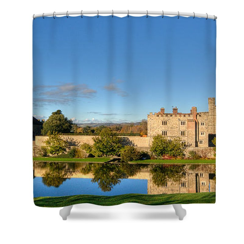 Leeds Castle Shower Curtain featuring the photograph Leeds Castle And Moat Reflections by Chris Thaxter