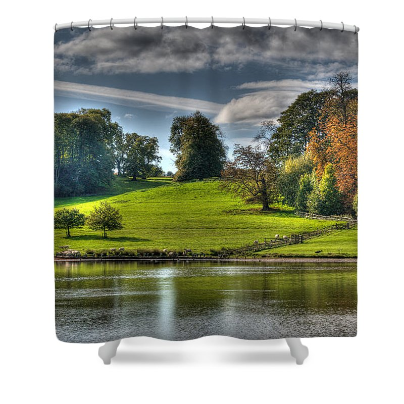 Leeds Castle Shower Curtain featuring the photograph Leeds Castle Lake View by Chris Thaxter