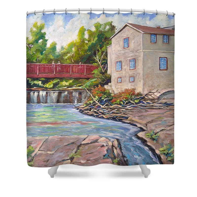 Mill Shower Curtain featuring the painting Legare Mill by Richard T Pranke