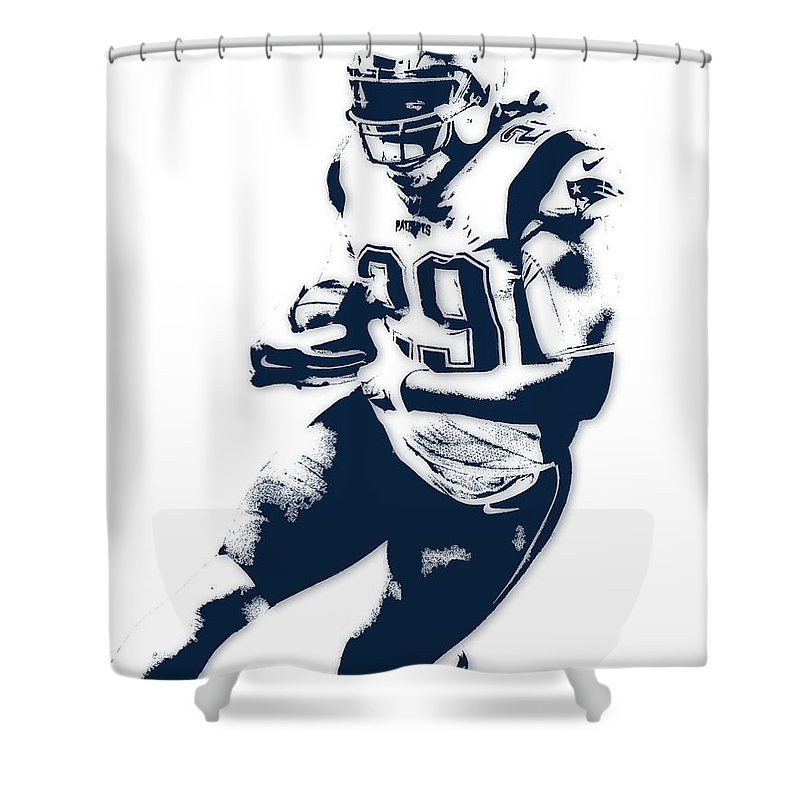 Legarrette Blount Shower Curtain Featuring The Mixed Media New England Patriots Pixel Art By