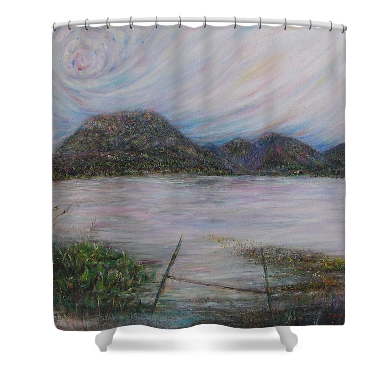 Thailand Shower Curtain featuring the painting Legend Of The Mountain by Sukalya Chearanantana