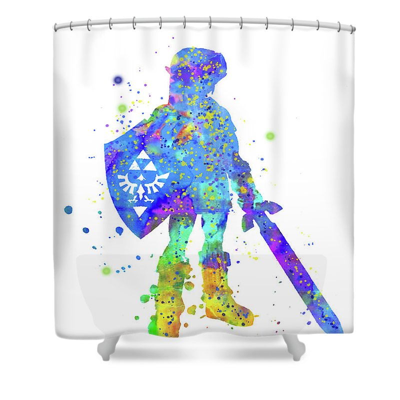 Legend Of Zelda Shower Curtain Featuring The Painting Poster Print