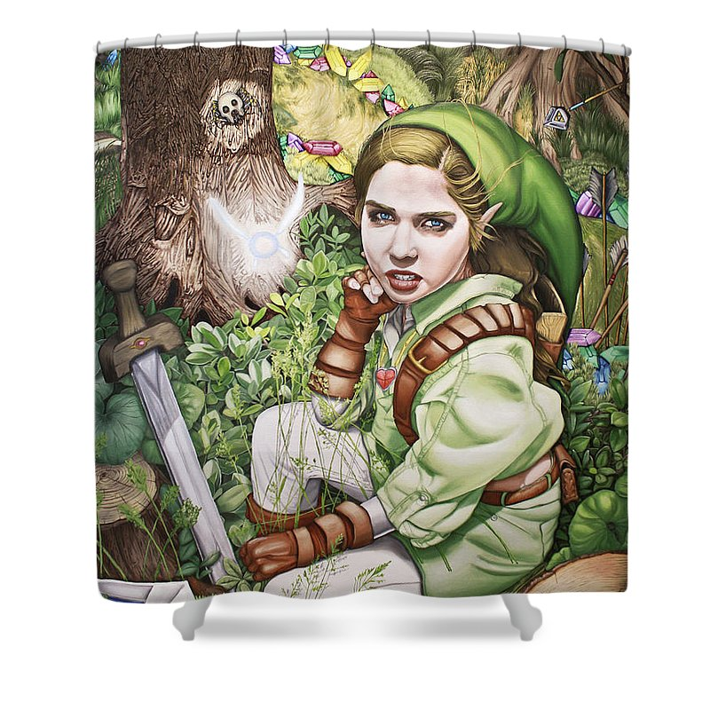 Zelda Shower Curtain featuring the painting Legend Of Zelda by Quincy St Kitts