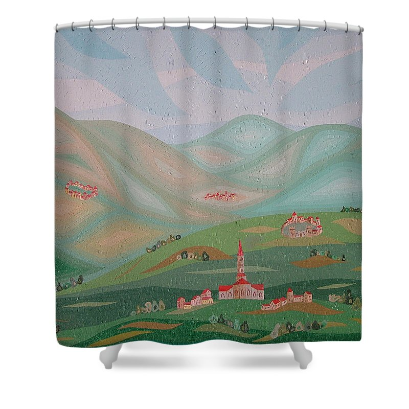 Oil Shower Curtain featuring the painting Legendary Land by Peter Antos