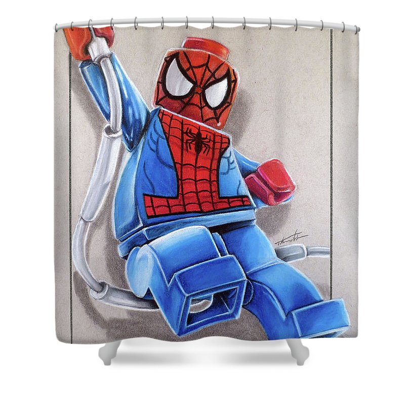 Lego Shower Curtain Featuring The Drawing Spiderman By Thomas Volpe