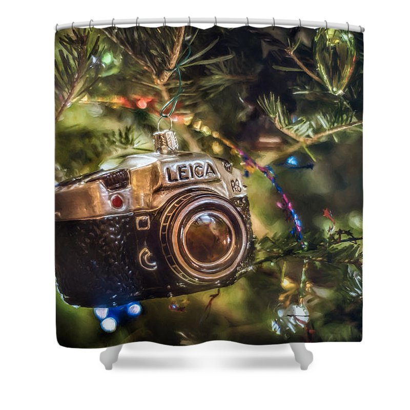 Scott Norris Photography. Christmas Tree Shower Curtain featuring the photograph Leica Christmas by Scott Norris