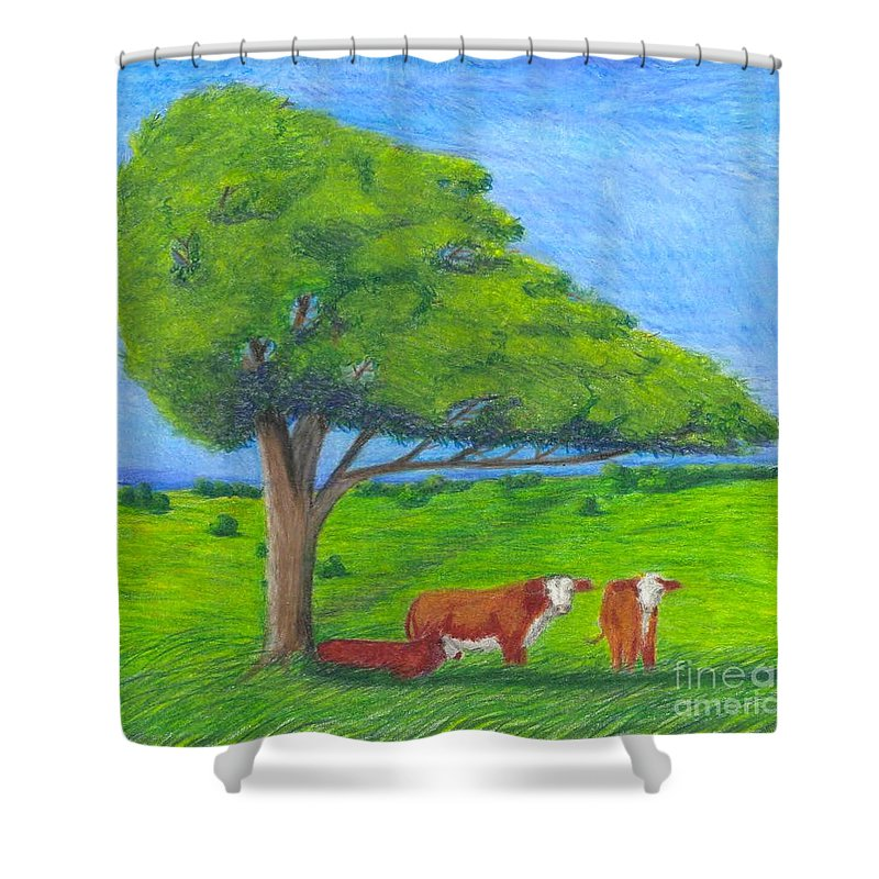 Cattle Shower Curtain featuring the pastel Leisure Time by Mendy Pedersen