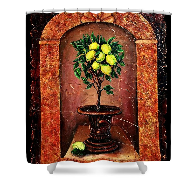 Fresco Antique Shower Curtain featuring the painting Lemon Tree by OLena Art Lena Owens