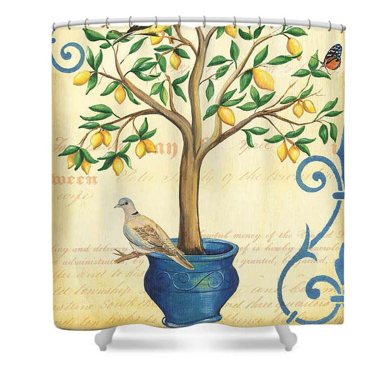 Lemon Shower Curtain Featuring The Painting Tree Of Life By Debbie DeWitt
