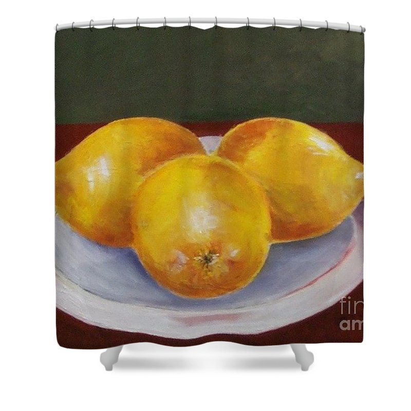Lemon Shower Curtain featuring the painting Lemons by Jeanie Watson