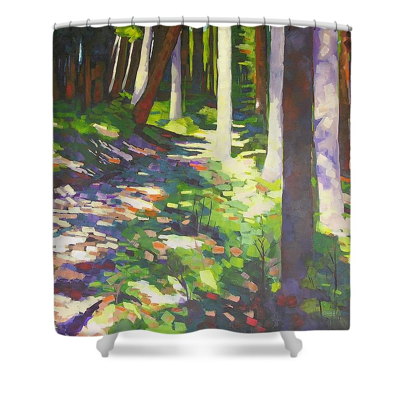 Landscape Shower Curtain featuring the painting Lena Lake Trail I by Mary McInnis