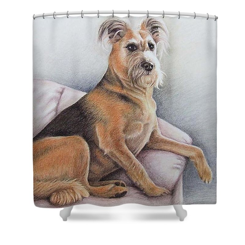 Dog Shower Curtain featuring the pastel Lena by Nicole Zeug