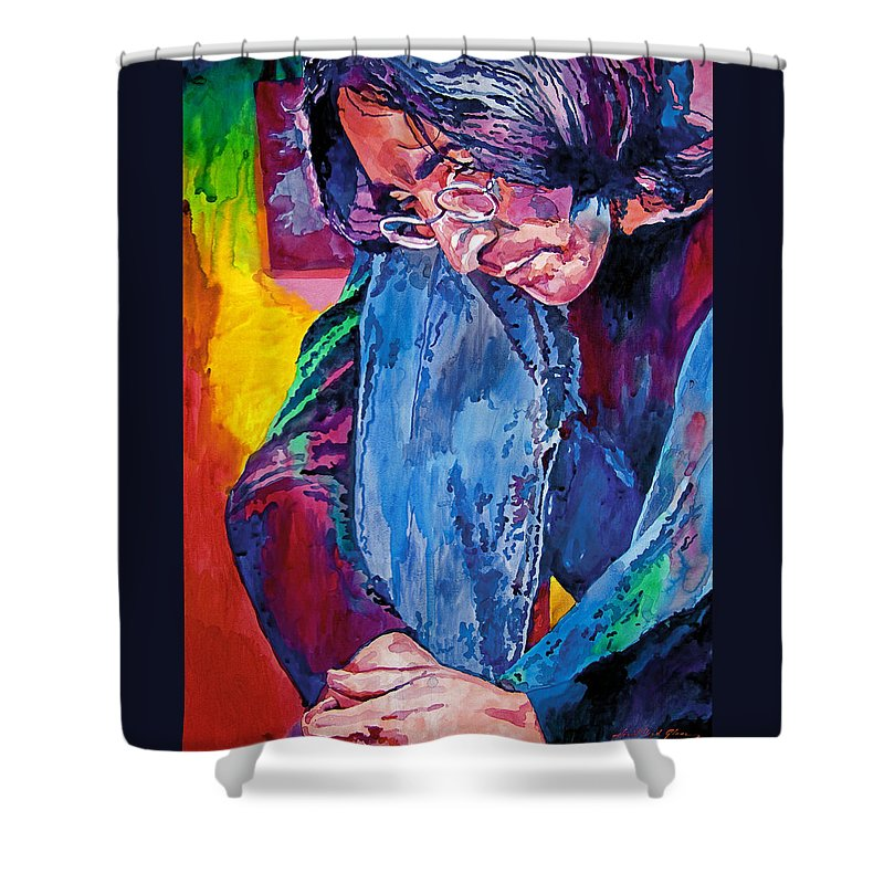 Rock Star Shower Curtain featuring the painting Lennon In Repose by David Lloyd Glover